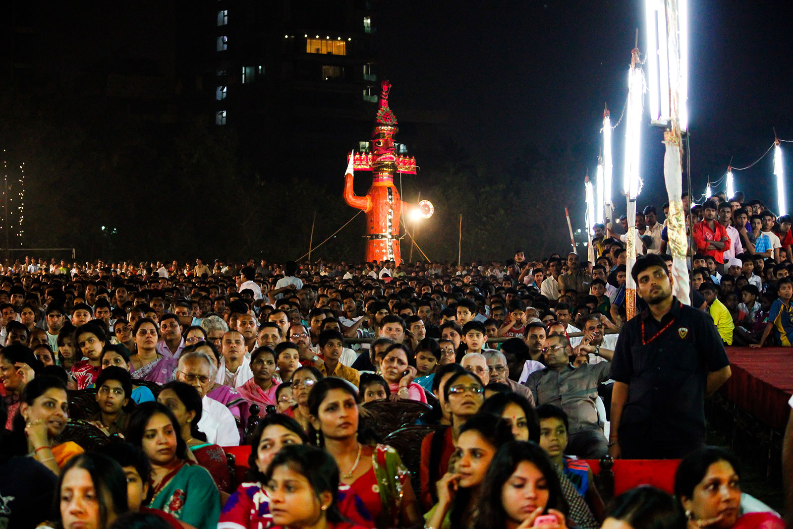 Crowd of people watching Ramleela with Ravana Idol in the background