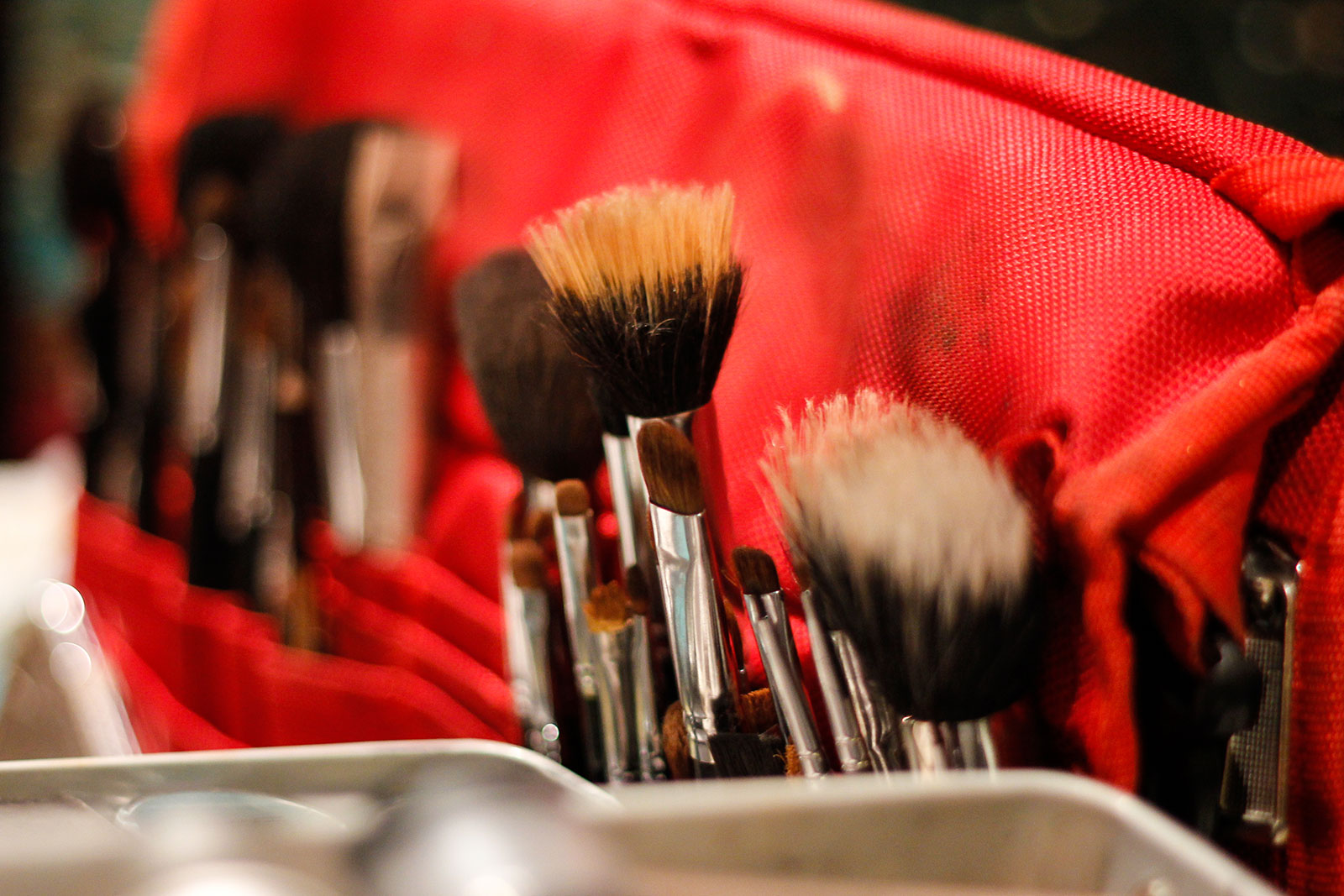 Artistic shot of Brushes in Makeup Kit